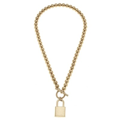 Grayson Padlock T-Bar Necklace Worn Gold