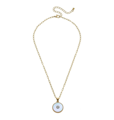 Jen Mother of Pearl Charm Necklace in Worn Gold