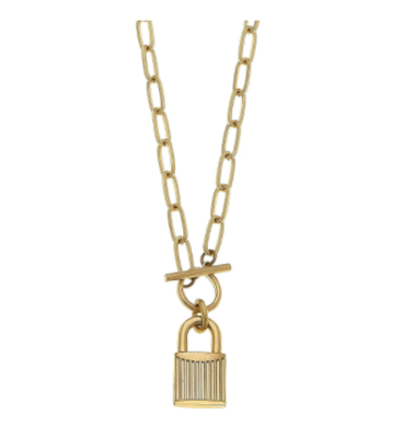 Stella Padlock Paperclip Chain Worn Gold Necklace