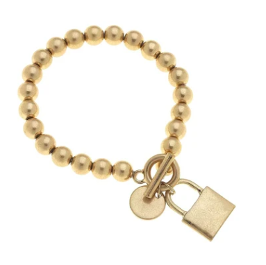 Grayson Padlock T-Bar Bracelet Worn Gold