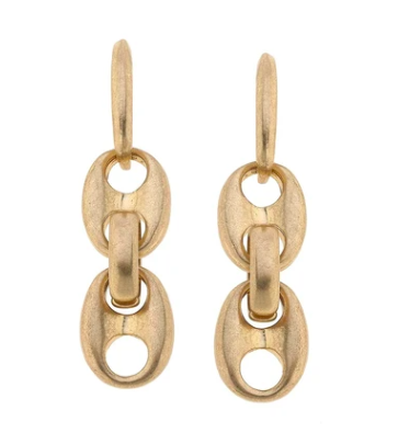 Ingrid Linked Chain Earrings in Worn Gold