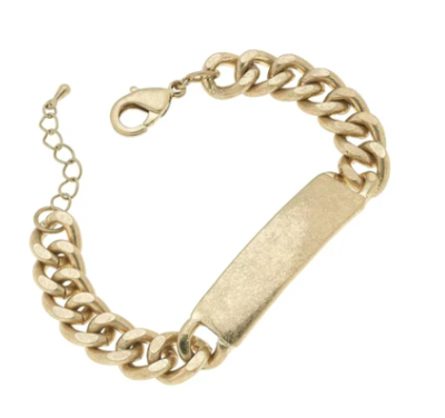 Salem ID Plate Chain Bracelet in Worn Gold