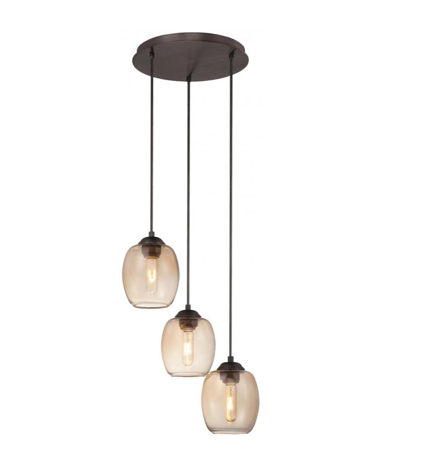 George Kovacs - Copper Bronze Patina 3-Light Teak Glass
