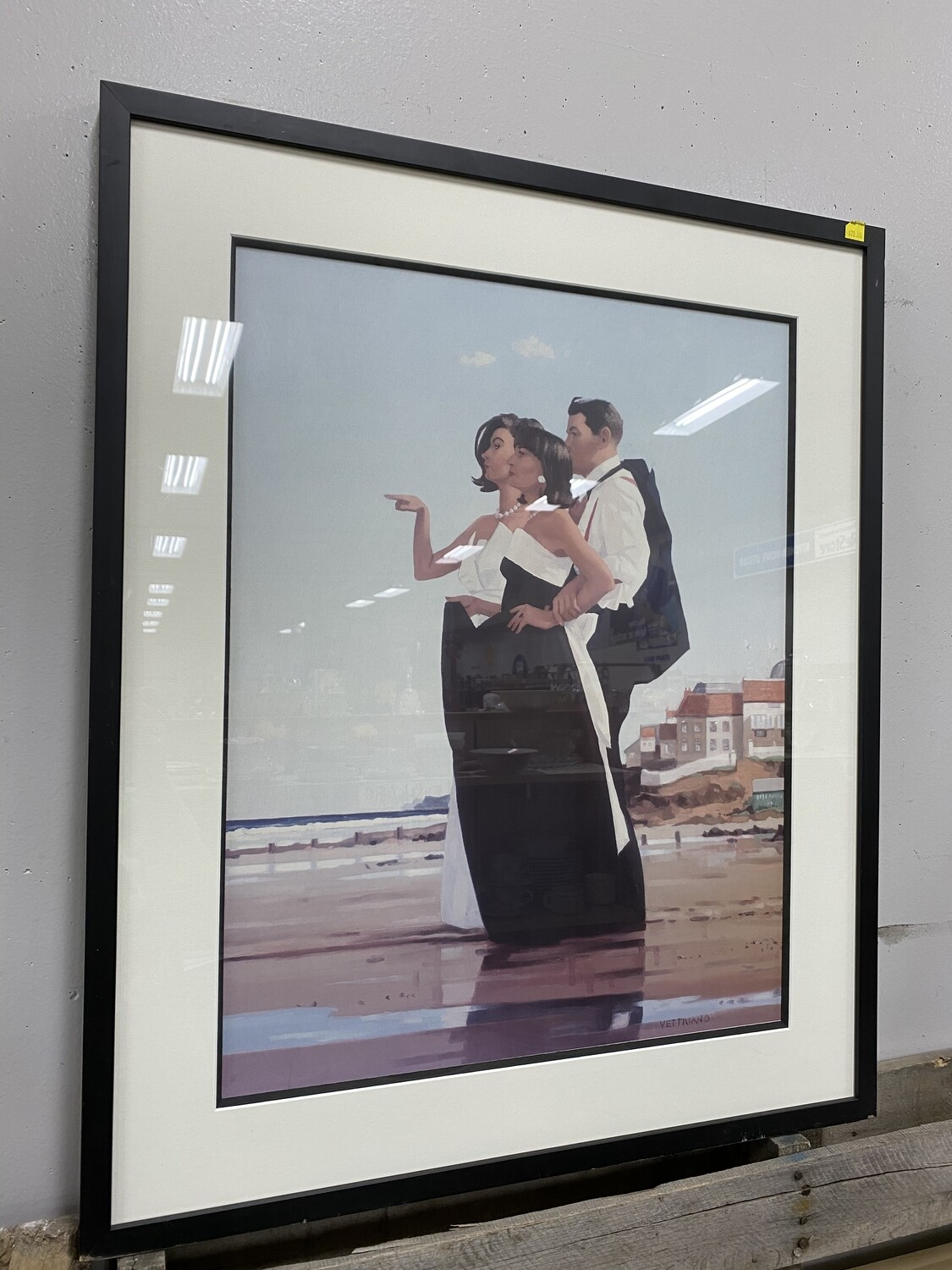 Large Framed Artwork - People on the Beach