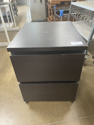 Two-Drawer Black Nightstand