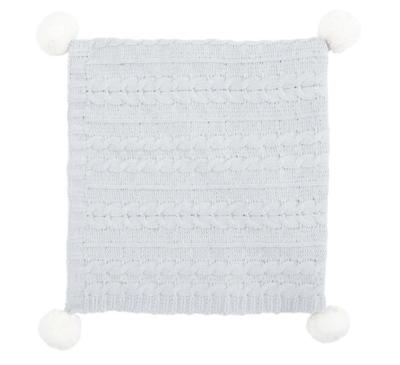 Blanket Pom Chenille Gray