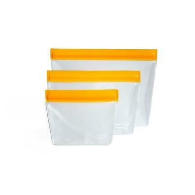 Orange Reusable Zipper Upper Bags