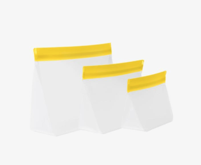 Yellow Reusable Zipper Upper Bags