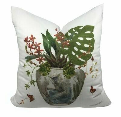 Monkey Jungle White  Linen Cotton Pillow