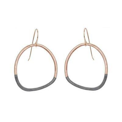 E299 Rose Gold/Blk Earrings