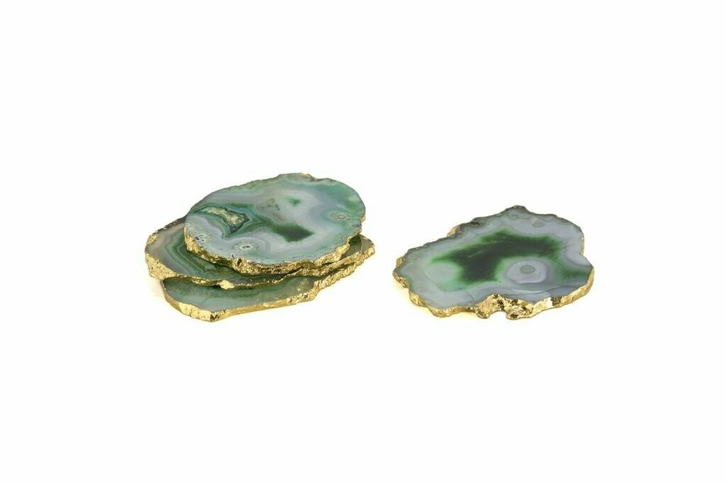 Agate Coasters Green s/4
