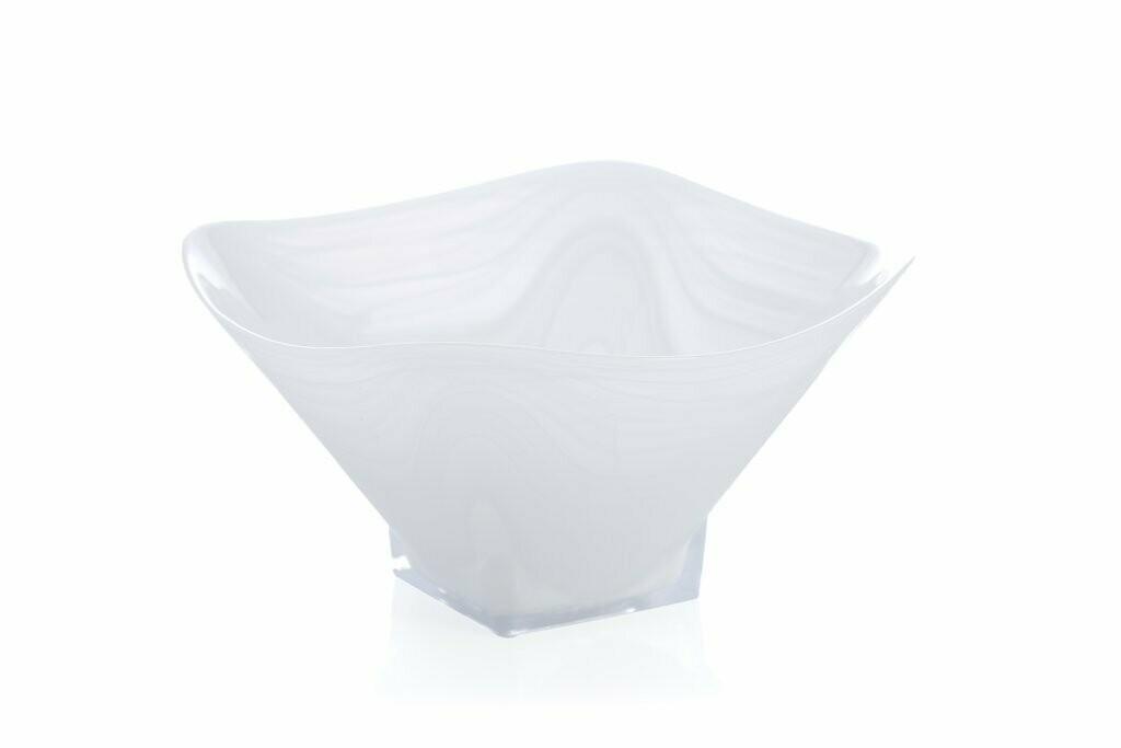 Large Polished Alb Square Bowl White