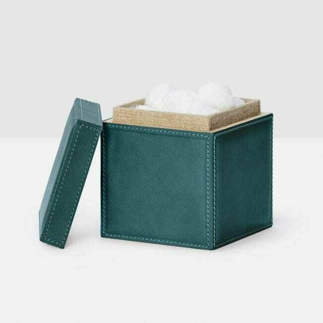 Dark Teal Leather Canister