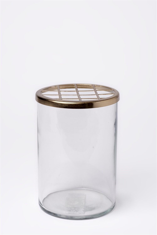 Med. Glass & Brass Flower Cylinder H7