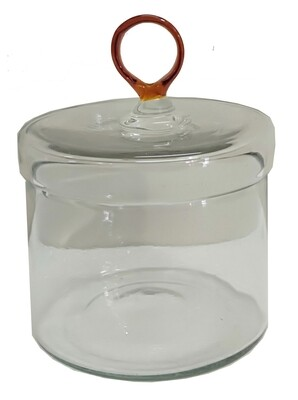 Sm Glass Canister w/Amber