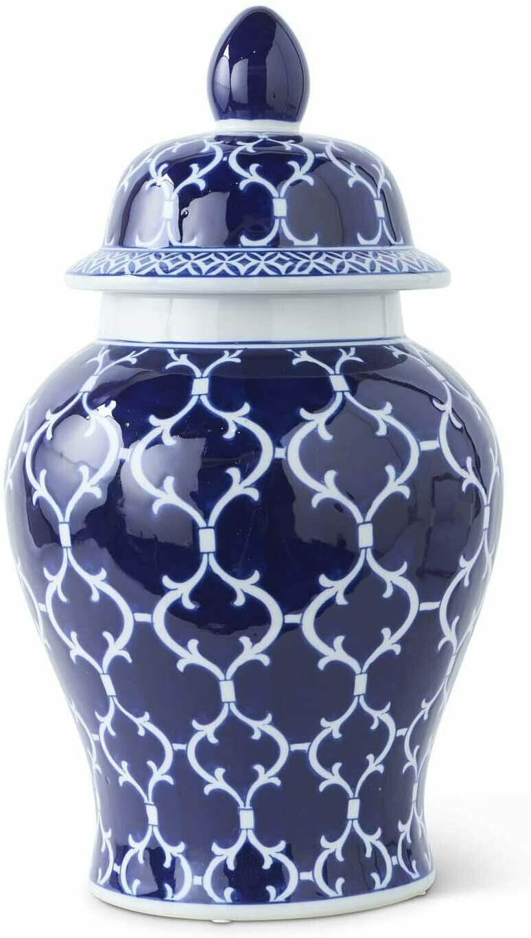 16 Inch White Ceramic Lidded Ginger Jar With Blue and Gold Palms
