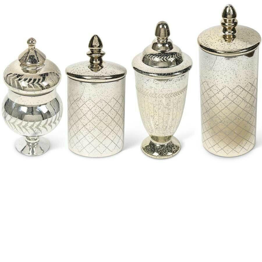 Set of 4 Mercury Glass Jars W/ Lids