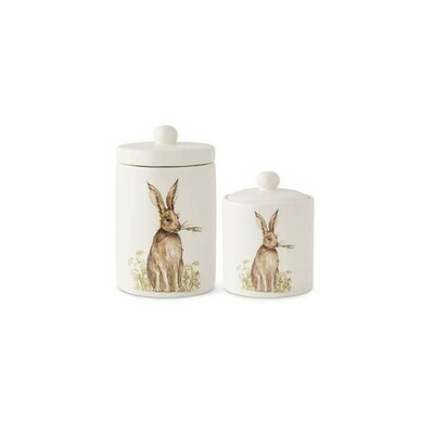 Set/2 White Ceramic Canisters With Vintage Bunny