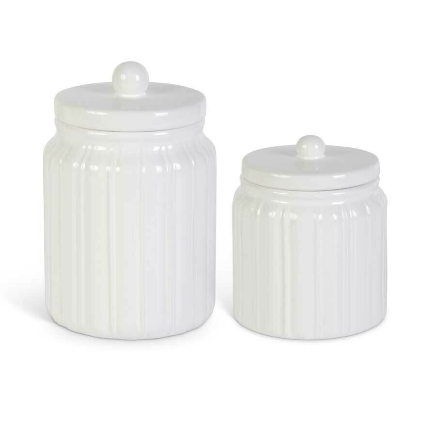 Set of Two White Lidded Ceramic Canisters