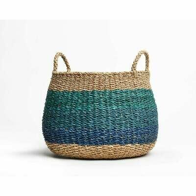Blue Rattan Basket Lg