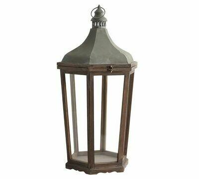 Lg Wood Galvanized Metal Lanterns