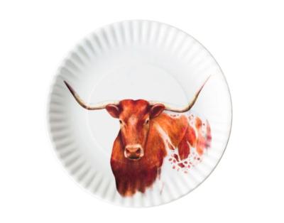 Longhorn melamine plate s/4