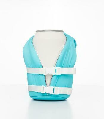 sky blue beverage life vest