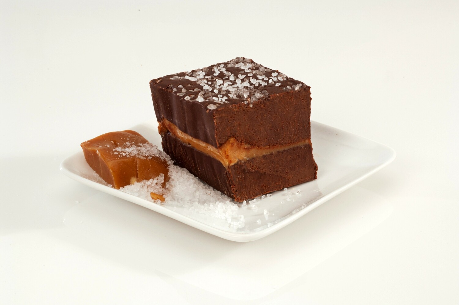 Dark Chocolate Fudge with Caramel and Sea Salt