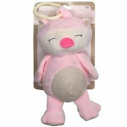 "Cuddle Pink Owl 10"" Plush w/Rattle"