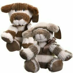 Striped Sweater Dog Plush w/Rattle