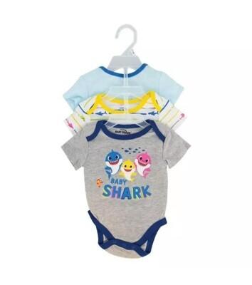 3pk baby shark body suit
