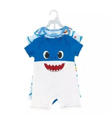 2pk Romper Baby Shark