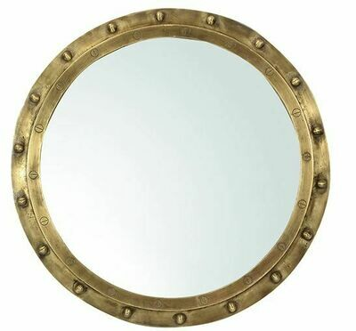BRUSHED BRASS NAUTICAL MIRROR