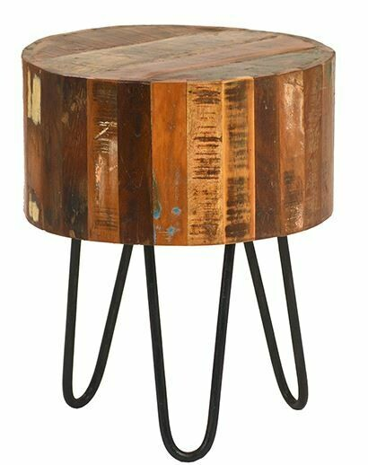 DOV OLD MULTI COLORED WOOD SIDE TABLE