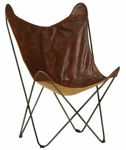 DOV DISTRESSED LEATHER BUTTERFLY CHAIR