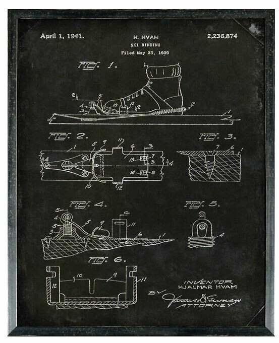 CEL SKI BINDING PATENT 21x26 FRAMED ART