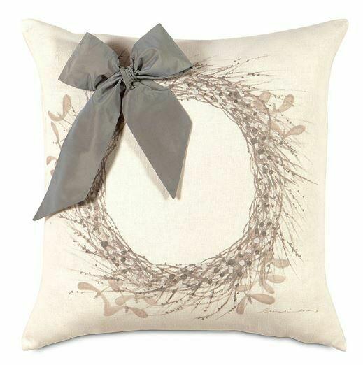 EAS Pillow Wintery Wreath 22x22