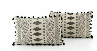 FHD BLACK/CREME INDIAN PRINT LUMBAR PILLOW