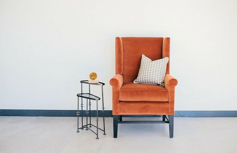 STE Orange Velvet Arm Chair