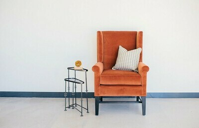 STE Orange Velvet Arm Chair