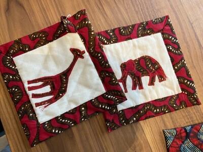 Topflappen/Pfannenblätz Duo Giraffe/Elefant