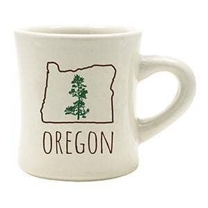White Oregon Coffee mug with state symbol