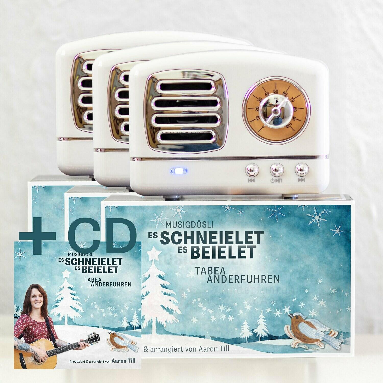 Weihnachts-AKTION: 3x Weihnachts-Musigdösli «Es schneielet, es beielet» + gratis CD