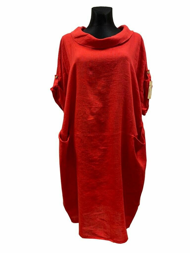 Leinenkleid mit U-Boot-Ausschnitt rot