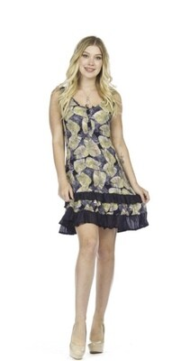 Papillon - PD05745 - Dress ruffle leaf print