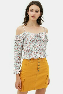 white/floral peasant top