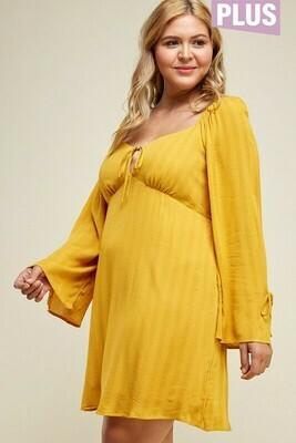 mustard empire dress