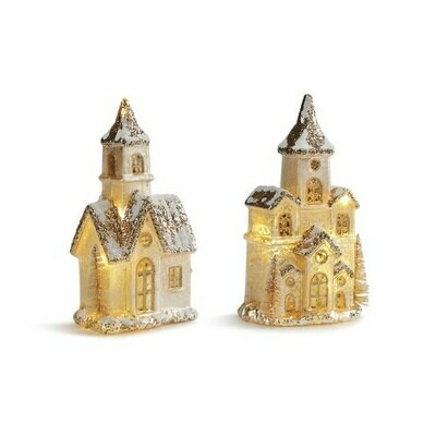 Lit Snowy House Figures (2)