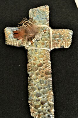 Metal Cross with Feather