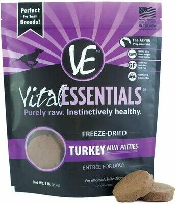 Vital Essentials Freeze Dried Turkey Mini Patties 1lb